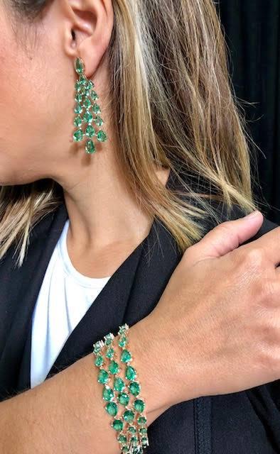 Pulsera y pendientes largos Plata Rosa Turmalinas Verdes - donde comprar salvatore plata alicante - joyeria marga mira