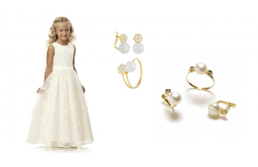 Conjuntos de anillo y pendiente para comunión